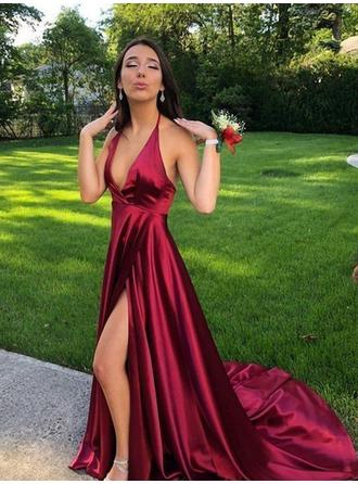 Magnificent Satin Prom Dresses A-Line/Princess Sweep Train Halter Sleeveless