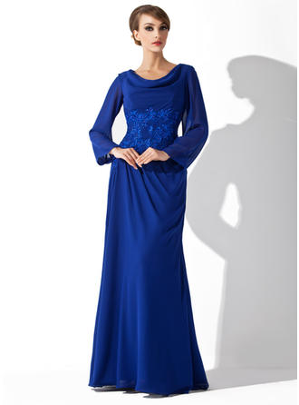 Chiffon Long Sleeves Mother of the Bride Dresses Cowl Neck A-Line/Princess Lace Floor-Length