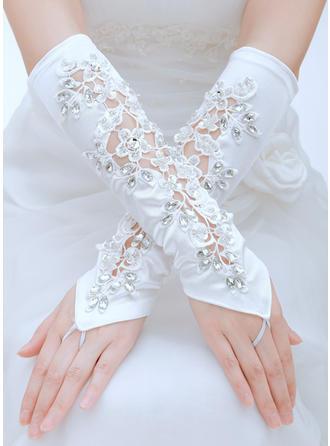 Satin طول الكوع قفازات الزفاف