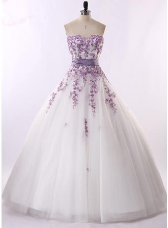 Ball-Gown Strapless Sweetheart Floor-Length Wedding Dress With Sash Beading Appliques Lace Sequins Bow(s)