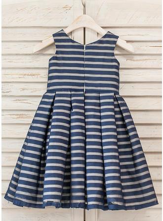 A-Line/Princess Scoop Neck Tea-length Organza Sleeveless Flower Girl Dresses