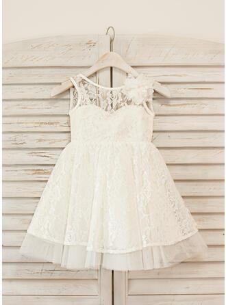 A-Line/Princess Knee-length Flower Girl Dress - Lace Sleeveless Scoop Neck With Flower(s)/V Back