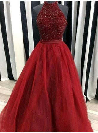 Ball-Gown High Neck Floor-Length Tulle Prom Dress With Beading