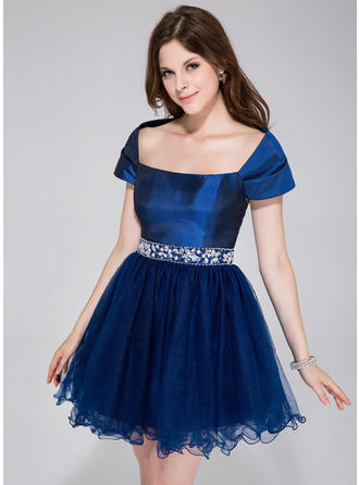 A-Line/Princess Taffeta Tulle Prom Dresses Beading Off-the-Shoulder Sleeveless Short/Mini