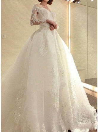 A-Line/Princess Off-The-Shoulder Floor-Length Cathedral Train Wedding Dress With Lace Beading Appliques Lace Sequins