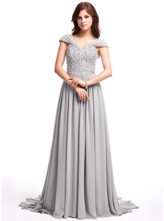 Chiffon Sleeveless A-Line/Princess Prom Dresses V-neck Ruffle Lace Beading Sequins Sweep Train (018025308)