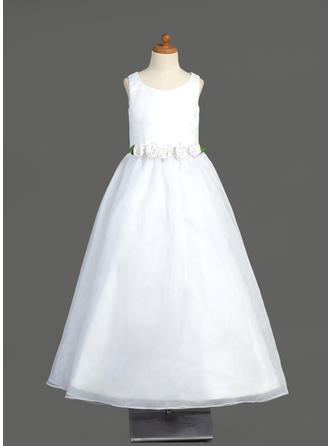 A-Line/Princess Scoop Neck Floor-length With Flower(s) Organza Flower Girl Dress