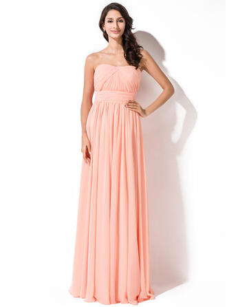 A-Line Sweetheart Floor-Length Chiffon Bridesmaid Dress With Ruffle