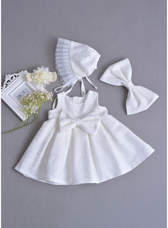 Lace Scoop Neck Beading Bow(s) Baby Girl's Christening Gowns With Sleeveless