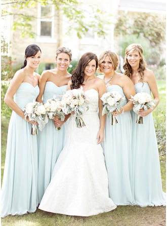 Chiffon Sleeveless A-Line/Princess Bridesmaid Dresses Sweetheart Ruffle Floor-Length (007144983)