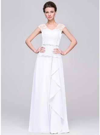 A-Line/Princess Chiffon Fashion V-neck Mother of the Bride Dresses