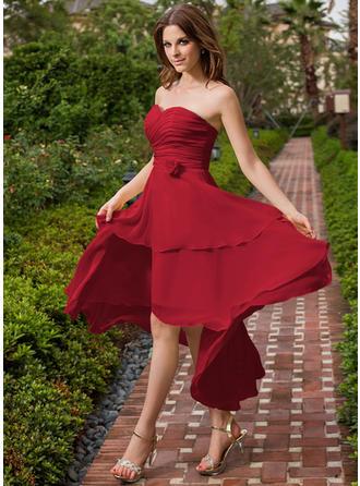 Chiffon Sleeveless A-Line/Princess Bridesmaid Dresses Sweetheart Ruffle Flower(s) Asymmetrical