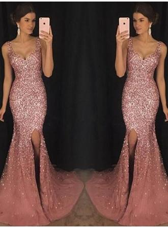 Sequined Sleeveless Sheath/Column Prom Dresses Sweetheart Sequins Split Front Sweep Train