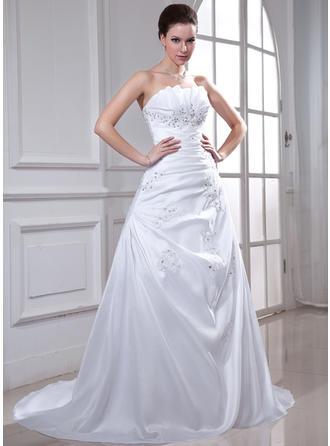 A-Line/Princess Scalloped Neck Chapel Train Taffeta Wedding Dress With Ruffle Beading Appliques Lace Sequins