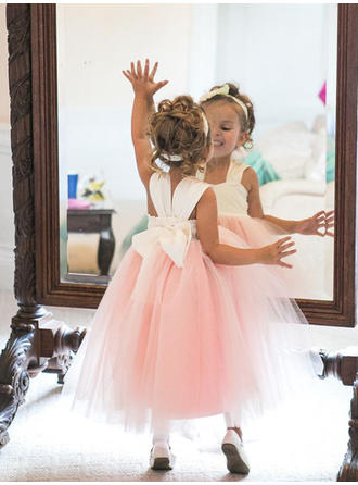 Ball Gown/Trumpet/Mermaid Square Neckline Ankle-length With Bow(s) Organza/Satin Flower Girl Dress (010145202)