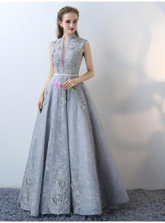 A-Line/Princess High Neck Floor-Length Evening Dress With Flower(s)