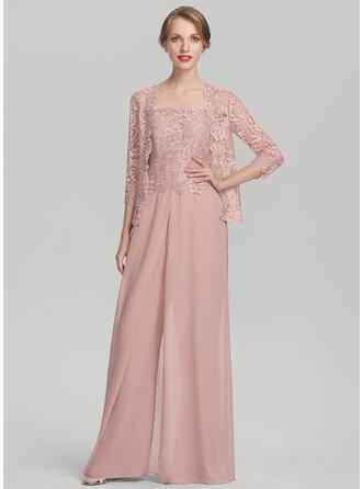 Square Neckline Floor-Length Chiffon Lace Evening Dress