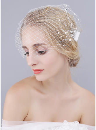 Blusher Veils Tulle One-tier Classic With Faux Pearl Wedding Veils