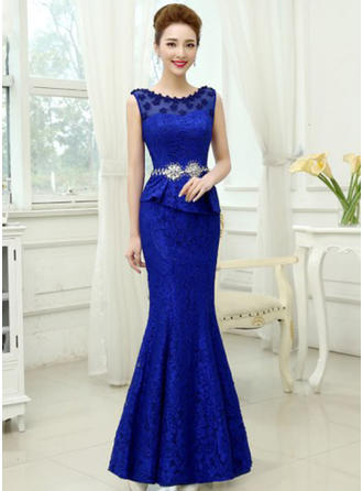 Trumpet/Mermaid Scoop Neck Floor-Length Lace Prom Dress With Beading