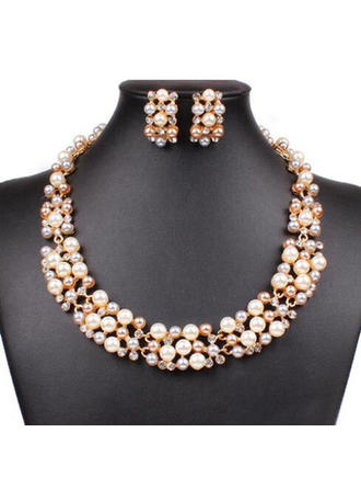 Jewelry Sets Alloy/Pearl Rhinestone Lobster Clasp Pierced Wedding & Party Jewelry (011166800)