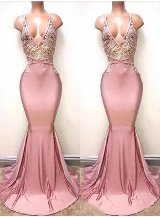 Magnificent Satin Prom Dresses Trumpet/Mermaid Sweep Train V-neck Sleeveless