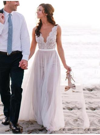 A-Line/Princess V-neck Floor-Length Wedding Dresses