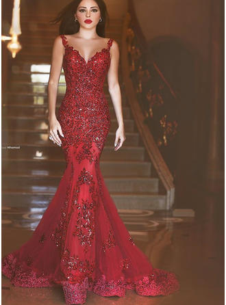 Trumpet/Mermaid V-neck Sweep Train Tulle Evening Dresses With Beading Appliques Lace Sequins