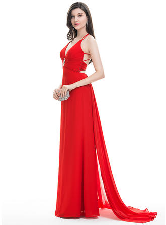 A-Line/Princess V-neck Sweep Train Chiffon Prom Dresses With Beading Cascading Ruffles