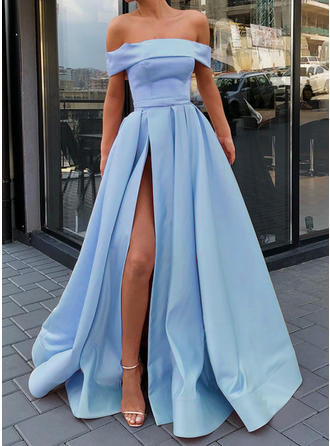 2019 New Satin Prom Dresses A-Line/Princess Sweep Train Off-the-Shoulder Sleeveless