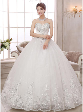 Ball-Gown Sweetheart Floor-Length Wedding Dress With Lace Beading Appliques Lace