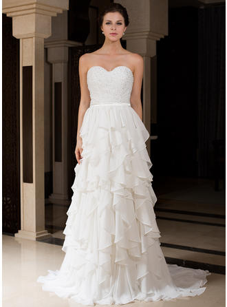 Charmeuse A-Line/Princess Sweep Train - Chic Wedding Dresses