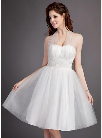 Tulle A-Line/Princess Knee-Length Halter Wedding Dresses Sleeveless
