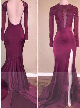 Trumpet/Mermaid Scoop Neck Sweep Train Prom Dresses With Beading Appliques Lace Split Front