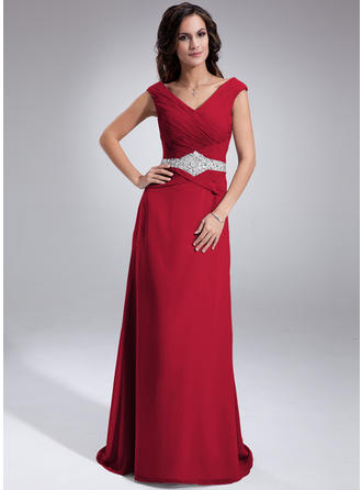 Ruffle Beading Sequins Off-the-Shoulder Flattering Chiffon Mother of the Bride Dresses