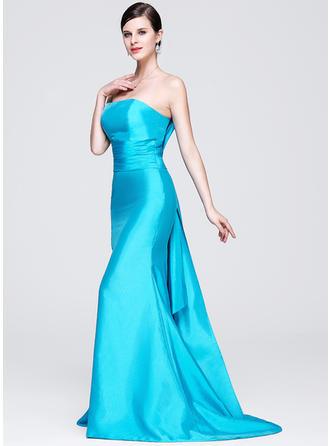 Trumpet/Mermaid Strapless Taffeta Sleeveless Sweep Train Evening Dresses