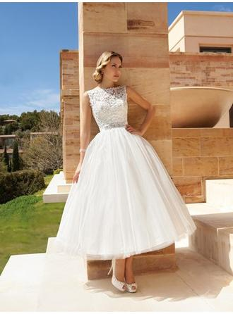 A-Line/Princess Scoop Ankle-Length Wedding Dresses With Lace Beading