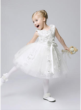 A-Line/Princess Jewel Tea-length With Flower(s)/Sequins/Bow(s) Tulle Flower Girl Dresses