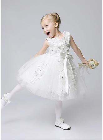 Forme Princesse Longueur mollet Robes à Fleurs pour Filles - Tulle Sans manches Bijou avec Fleur(s)/Paillettes/À ruban(s)
