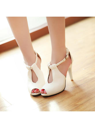 Women's Peep Toe Stiletto Heel Leatherette Wedding Shoes