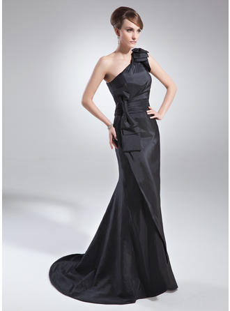 Taffeta Sleeveless Mother of the Bride Dresses One-Shoulder Trumpet/Mermaid Ruffle Bow(s) Sweep Train