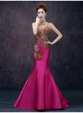 Trumpet/Mermaid Scoop Neck Floor-Length Evening Dress With Embroidered Beading