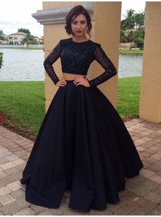 A-Line/Princess Scoop Neck Satin Long Sleeves Flattering Prom Dresses