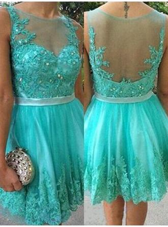 Sash Beading Appliques A-Line/Princess Short/Mini Tulle Homecoming Dresses