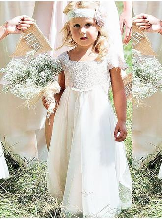 Trumpet/Mermaid/A-Line/Princess Square Neckline Floor-length With Bow(s) Chiffon/Lace Flower Girl Dress (010145256)