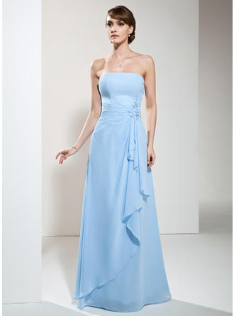 Chiffon Sleeveless A-Line/Princess Bridesmaid Dresses Strapless Beading Appliques Lace Cascading Ruffles Floor-Length