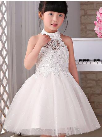 A-Line/Princess Halter Knee-length With Beading/Appliques Tulle Flower Girl Dresses (010211776)