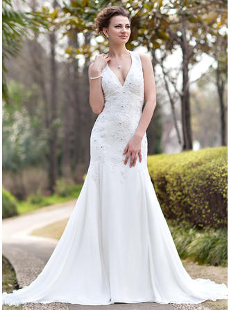Glamorous Chapel Train Trumpet/Mermaid Wedding Dresses Halter Chiffon Sleeveless