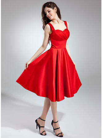 A-Line Sweetheart Knee-Length Satin Bridesmaid Dress With Ruffle