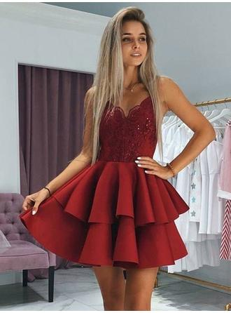 Ruffle Appliques V-neck Satin A-Line/Princess Homecoming Dresses