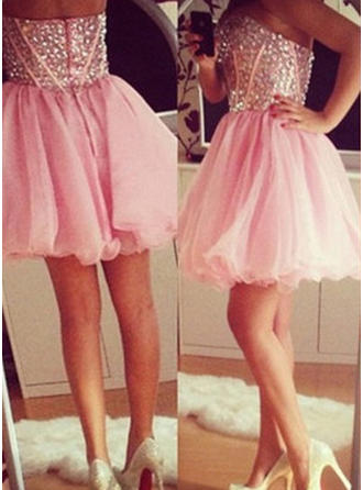 A-Line/Princess Sweetheart Tulle Sleeveless Short/Mini Beading Homecoming Dresses (022212329)